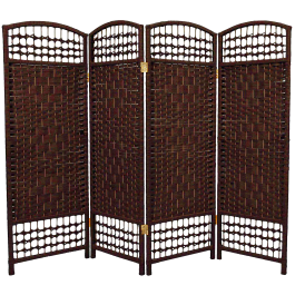 4 Panel Interwoven Mediterranean Folding Screen Room Divider- Wicker Straw Short