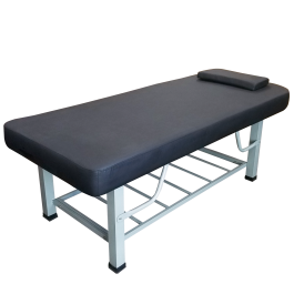 TOA Metal Framed Square Legs Stationary Spa Massage Table Bed w/ Tray Rack