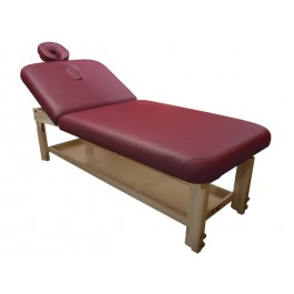 Stationary Facial Table Wooden Adjusting Height Beauty Spa Tattoo Professional Massage Bed with Storage Tray