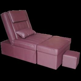 Light Coffee Manual PU Reclining Foot Massage Sofa- Metal Frame