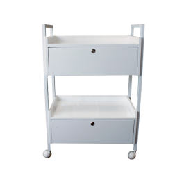 2 Shelf White Wooden Tray Rolling Cart w/ Drawers