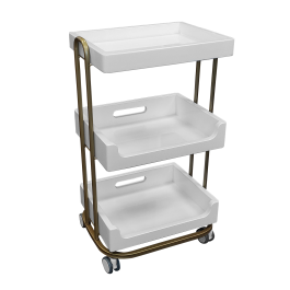 TOA Supply 3 Shelf Wooden Tray Cart White Storage Trolley Rolling Beauty Salon Hair Spa by TOA Supply
