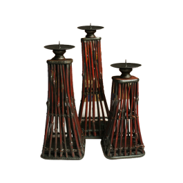 3PC Bamboo Sticks Candle Holders Set