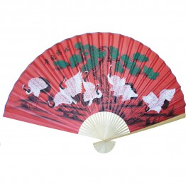 """Large 84"""" Folding Chinese Wall Fan Oriental Paper Hanging (8 Cranes)"""