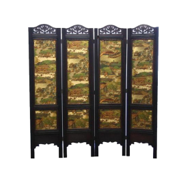 Antique Divider Folding Screen One side- Forest Village