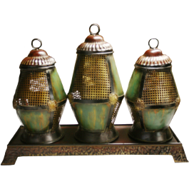 Green Candle Lanterns Set Of 3 With Base