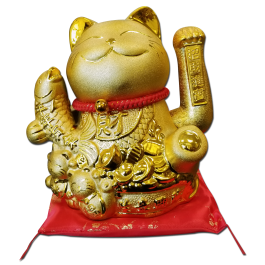 Maneki Neko Lucky Cat Decoration Fortune Cat- with Fish (14-B) Free Shipping