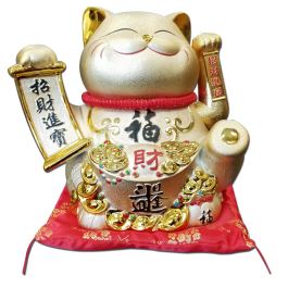Maneki Neko Lucky Cat Decoration Fortune Cat- with Scroll (1628) Free Shipping