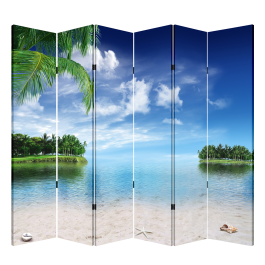 6 Panel Folding Screen Canvas Divider- Beach  Free Shipping