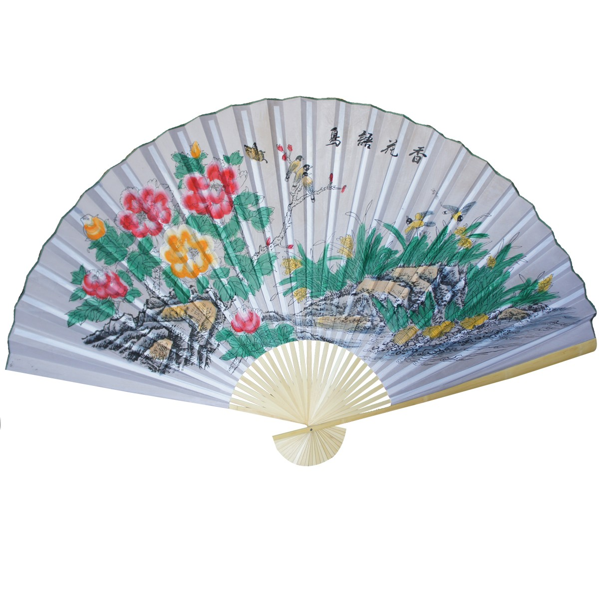 large 84 u0026quot  folding chinese wall fan oriental paper hanging