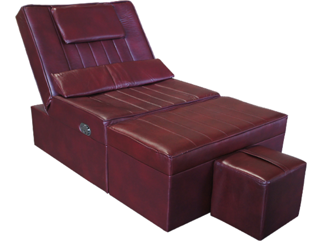 Burgundy Manual Pu Reclining Foot Massage Sofa Massage Spa Equipment Supply