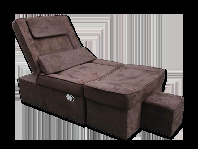 Coffee Manual Fabric Reclining Foot Massage Sofa- Flat