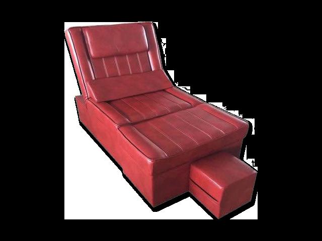 Light Burgundy Manual PU Reclining Foot Massage Sofa