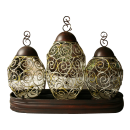 3PC Lantern Style Metal Vases With Stand