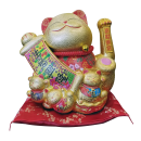 Maneki Neko Lucky Cat Decoration Fortune Cat and Scroll (57-20)  Free Shipping