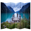 6 Panel Folding Screen Room Canvas Divider- Lakeview Free Shipping