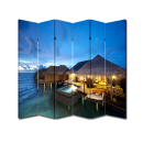 6 Panel Folding Screen Canvas Room Divider- Tiki Hut