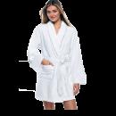 100% Cotton Women's White Short Robe w/ Pockets