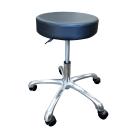 "14"" Round Seat Wide Base Drafting Stool Rolling Swivel Chair Hydraulic Pneumatic Steel - Black"