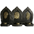 3 Panel Buddha Faces Candle Holder