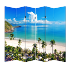 6 Panel Folding Screen Canvas Room Divider- Beach Huts Free Shipping