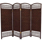 4 Panel Interwoven Mediterranean Folding Screen Room Divider- Wicker Straw Short