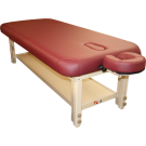 TOA Stationary Adjusting Height Spa Massage Table w/ Tray  Burgundy Table