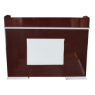 Beauty Spa Salon Reception Desk- Dark Red/White Plaque