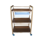 3 Tier Wooden Spa Shelf Rolling Cart