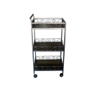 3 Tier Steal Spa Shelf Rolling Cart- Coffee