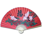 "Large 84"" Folding Chinese Wall Fan Oriental Paper Hanging (6 Cranes- Red)"