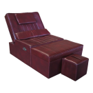 Burgundy Manual PU Reclining Foot Massage Sofa- Metal Frame