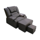 EL0321 Plush PU Reclining Foot Massage Sofa w/ Armrests- Gray
