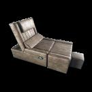Beige Electric PU Reclining Foot Massage Sofa-Flat