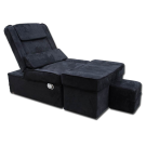 Black Manual Fabric Reclining Foot Massage Sofa- Flat