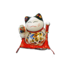 White Maneki Neko Lucky Cat Figurine- Large
