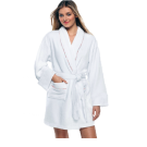 100% Cotton Women's White Short Robe w/ Pockets