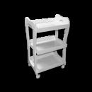 3 Shelf White Storage Wooden Tray Rolling Cart