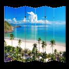6 Panel Folding Screen Canvas Room Divider- Beach Huts Free Shipping