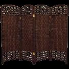 4 Panel Interwoven Mediterranean Folding Screen Room Divider- Wicker Straw Tall