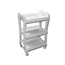 3 Shelf White Storage Wooden Tray Rolling Cart