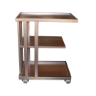 3 Tier Wooden Spa Shelf Rolling Cart- Coffee