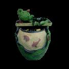 Indoor Outdoor Tabletop Waterfall Fountain- Green Pot