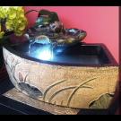 Indoor Outdoor Tabletop Garden Waterfall Fountain- Curved Pond