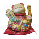 Maneki Neko Lucky Cat Decoration Fortune Cat and Scroll (57-20)  Free Shipping