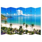 8 Panel Folding Screen Canvas Room Divider- Beach Huts  Free Shipping