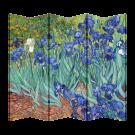 6 Panel Folding Screen Canvas Divider-Van Gogh Irises  Free Shipping