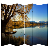6 Panel Folding Screen Canvas Divider- Lakeside Free Shipping