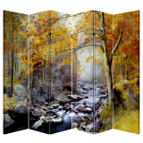 6 Panel Folding Screen Canvas Divider- Autumn River Free Shipping