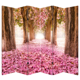 6 Panel Folding Screen Room Canvas Divider- Pink Pathway Free Shipping